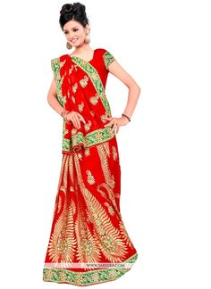 Authentic beauty will come out as a results of the dressing style and design with this red georgette designer contemporary saree. The ethnic embroidered, patch border and zari work to your attire adds...