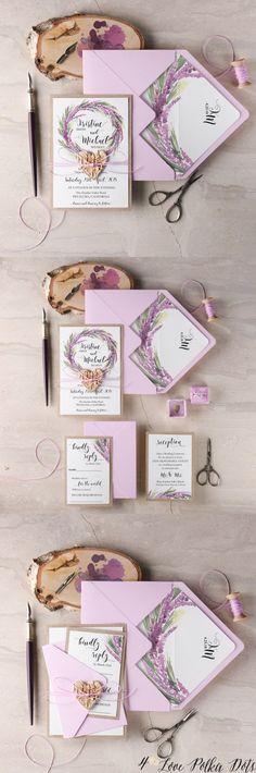 Lilac watercolor wedding invitations #lilacwedding #weddingreception #bohowedding