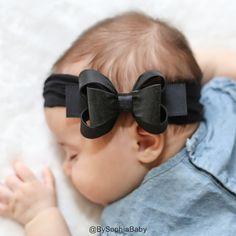 Baby Black Headband Black Big Bow Headband Baby by BySophiaBaby