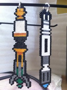 Perler bead Doctor Who Sonic Screwdriver keychain