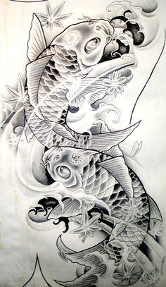 Koi Fish-Tattoo Sketches ~ Our Tattoo Shop Pez Koi Tattoo, Koi Tattoo Sleeve, Arm Tattoo, Swirl Tattoo, Clown Tattoo, Tattoo Sketches, Tattoo Drawings, Body Art Tattoos, Henna Tattoos