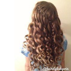 gorgeous waterfall braid & curls @hairstylesbyerin