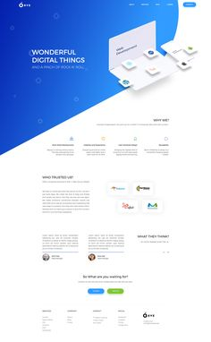 Good blue gradient that is very calming. Isometric product illustrations as well.