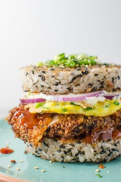 Chicken Katsu Sushi Burger - This Rice burger is acreative and incredibly delicious marriage of two distinct Japanese dishes.
