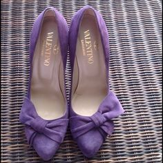 "Valentino Garavani Pumps Authentic Valentino Garavani purple suede pumps!  Bow detailing.  Worn twice.  Slight wear on the bottom. Size 38 1/2 European which is 8 1/2 U.S. Sizing.  Made in Italy. No dust bag.  Will come with a dust bag but not the original one and not the original box either. TRADESPAYPAL PLEASE USE OFFER BUTTON ""SALE DOES NOT APPLY"" Valentino Shoes Heels"