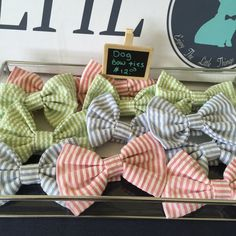 """$8: THEY ARE AVAILABLE IN 3 COLORS, (PINK, BLUE & GREEN) AND 3 SIZES (1"""" INCH COLLAR WIDTH, 3/4"""" COLLAR WIDTH & 5/8"""" OR LESS COLLAR WIDTH)   THEY SIMPLY VELCRO AROUND YOUR DOG'S COLLAR!    THE BOWTIES ARE  4 1/4 """" WIDE AND 2 1/2 """" HIGH"""