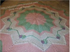 Pick up your hook and crochet something sweet with the Frosted Round Ripple crochet pattern. This free pattern looks like a yummy frosted cake and you can crochet one today. Add flower crochet appliques to this completed ripple crochet afghan and you
