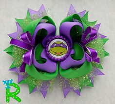 Ninja turtles layered Hair Bow Donatello by RoshelysBowtique
