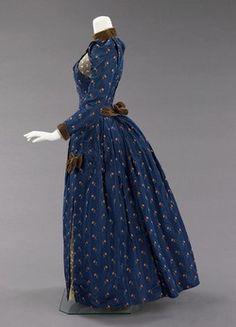 1888, Afternoon dress. Silk, linen, cotton. The Met.