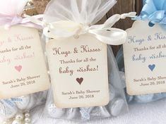 Baby Hugs and Kisses Favor Bags, Baby Shower Kiss Favors, Candy Favor Bags, Set of 10