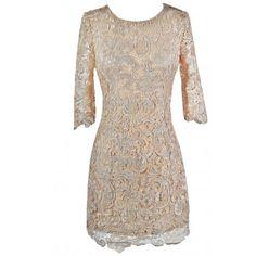 Beige Lace Three Quarter Sleeve Dress $38