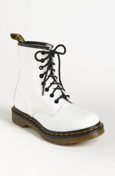 A signature sole grounds the offbeat style of an iconic lace-up boot. Style Name:Dr. Martens W' Boot. Style Number: Available in stores. White Dr Martens, Red Doc Martens, Doc Martens Style, Doc Martens Outfit, Grunge Style, Soft Grunge, Dr. Martens, Dr Martens 1460, Tokyo Street Fashion