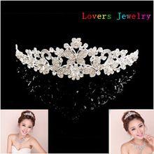 2014 nueva moda mariposa cristalina de la corona Tiara elegante Rhinestone boda joyería nupcial del pelo de la novia del partido accesorios para el cabello(China (Mainland))