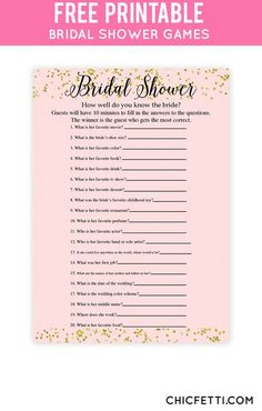 Free Printable Gold Bridal Shower Games from @chicfetti: