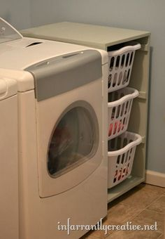 laundry room... Rolling laundry basket cabinet... Free tutorial with supplies list and plans!!