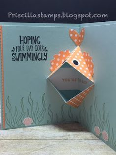 inside view of pop-up birthday card from Stampin' Amigos: Best Fishes! ... punch art goldfish in open-mouth format ... Stampin' Up!