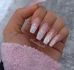Love Nail Designs Sparkly Acrylic Nails Glitter Ombre White