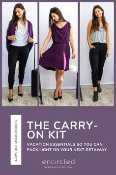 Pack the carry-on kit for vacation essentials so you can pack light on your next getaway while you look and feel good in sustainably made and sourced clothing. Packing List For Travel, Travel Tips, Stylish Outfits, Fashion Outfits, Pack Light, Travel Clothing, Vacation Outfits, Colourful Outfits, Capsule Wardrobe