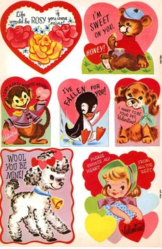 Free Retro Valentine Cut Outs 6 My Funny Valentine, Vintage Valentine Cards, Vintage Greeting Cards, Valentine Day Cards, Valentine Crafts, Valentine Images, Vintage Postcards, Hippie Art, Cute Cartoon Wallpapers