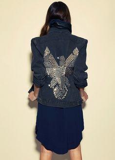 denim studded thunderbird jacket