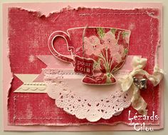 Tea party Petite Stampin' Up! - use for my collage Shabby, Tarjetas Pop Up, Coffee Cards, Friendship Cards, Card Tags, Creative Cards, Greeting Cards Handmade, Vintage Cards, Homemade Cards