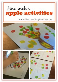 Listed in this post are many fun, fine motor apple activities you can do with your young child.from playdough to playing on a felt board. Preschool Apple Theme, Abc Preschool, Fall Preschool Activities, Fine Motor Activities For Kids, Apple Activities, Toddler Activities, Apple Unit, Fun Learning, Free Printable