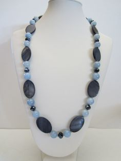 Long Necklace with Blue AngeliteGrey Mother of Pearl by yasmi65, $32.00
