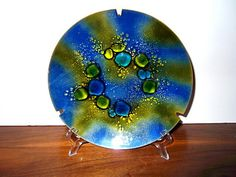 Vintage Enamel on Copper Dish Ashtray  Blue and by MTippingAtelier, $65.00