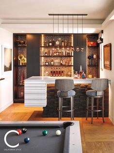 Basement Bars That Bring Home The Good Times Home Designs One of the most popular types of bars found in basements is the bistro bar. This type of bar requires a very strong wall house it. The designs of bist. Mini Bar At Home, Bars For Home, San Francisco Bay, Home Bar Essentials, Bar Counter Design, Home Bar Counter, Modern Bar, Modern Home Bar Designs, Bar Areas