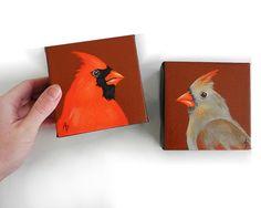 Cardinal red bird mini canvas painting, 4x4 square miniature art SET OF 2