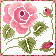 Roses with buds stitch,design Free Cross Stitch Charts, Cross Stitch Cards, Cross Stitch Rose, Cross Stitch Flowers, Counted Cross Stitch Patterns, Cross Stitch Designs, Cross Stitching, Cross Stitch Embroidery, Needlework