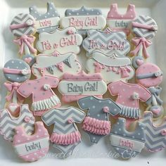 Pink and Gray Baby Shower Cookies by SweetArt Cookie Co