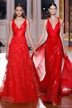 Zuhair Murad fall 2012 Couture long sleeve red dresses straps. red is so STRIKING!