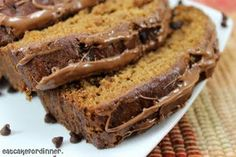 Pumpkin Chocolate Chip Bread with Chocolate Drizzle - Eat Cake For Dinner