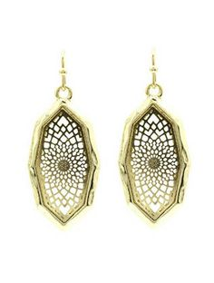 Gold Filigree Pattern Hammered Earrings from Helen's Jewels