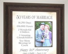 Celebrating the Special Moments in Your by PhotoFrameOriginals Golden Wedding Anniversary Gifts, Parents Anniversary, Anniversary Gifts For Parents, Anniversary Photos, 50th Anniversary, Thank You Gift For Parents, Wedding Gifts For Parents, Wedding Day Gifts, Anniversary Party Decorations
