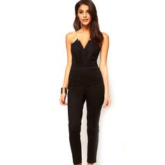 185ea8492d4 ladies jumpsuits for women Rompers clothing Solid overalls 2017 Black green  v-neck backless sleeveless sexy jumpsuits plus size