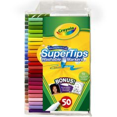 <div>Crayola Washable Super Tips Markers turn every kid into a graphic designer, illustrator, or...