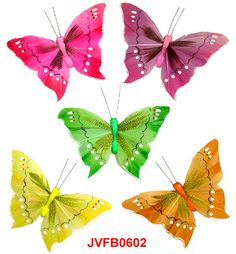 The assorted artificial feather butterflies with featherlet in middle are the elaborately handcrafted butterflies with exquisite design.Beautiful Artificial Butterflies in assorted colors and sizes! Artifical Butterflies-Decorative Butterflies-Fake-Butterflies-Floral Arrangements-Wedding Decorations
