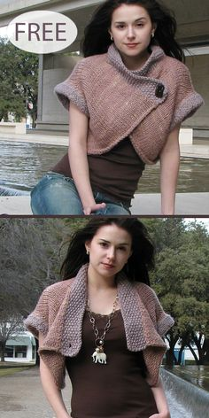 Free Knitting Pattern for Nob Hill Shrug - This cropped cardigan may be worn open or closed, over a simple tank or lightweight sweater, and will carry Capelet Knitting Pattern, Knit Shrug, Knitting Patterns Free, Free Knitting, Beginner Knitting, Sewing Patterns, Shrugs And Boleros, How To Purl Knit, Knit Crochet