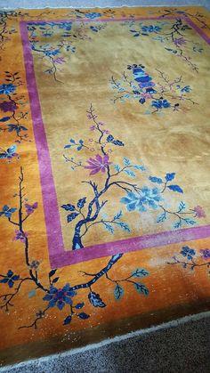 ART DECO--ANTIQUE CHINESE NICHOLS ORIENTAL RUG