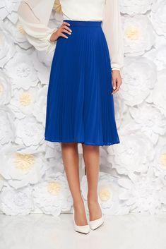 StarShinerS blue elegant cloche skirt with medium waist voile fabric folded up, inside lining, voile fabric, folded up, side zip fastening