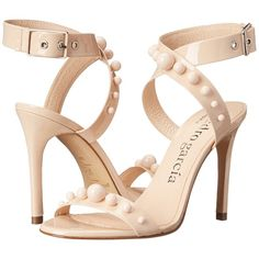 Pedro Garcia Courtney High Heels, Neutral ($385) ❤ liked on Polyvore featuring shoes, sandals, neutral, strappy sandals, pedro garcia sandals, ankle tie sandals, strap sandals and ankle strap sandals