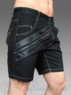 CRUZ - Black denim shorts with genuine leather stripes...