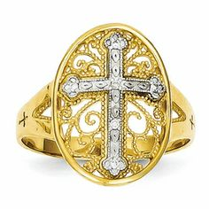 A stylish 14k yellow & white gold diamond filigree cross ring. This 14k two-tone religious rings is sylish and elegant. Item #: K5120 Regular price:$452.99 Sale price:$225.99 You Save: 50%