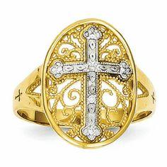14K Yellow & White Gold Diamond Filigree Cross Ring
