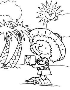 Funny Cartoon Beach Coloring Page Beach Coloring Pages, Fish Coloring Page, Coloring Pages For Kids, Coloring Books, Disney Princess Colors, Disney Colors, Princess Coloring Sheets, Barbie Coloring, Barney & Friends