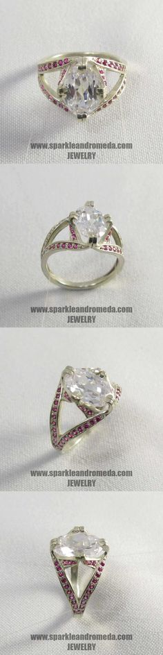 Sterling 925 silver ring with 1 oval mm white topaz color and 52 round mm pink ruby color cubic zirconia gemstones. 925 Silver, Silver Rings, Topaz Color, White Topaz, Wedding Rings, Engagement Rings, Gemstones, Pink, Handmade
