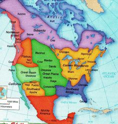 Map of North America divided into regions, with the names of some Indian nations showing where they once lived.