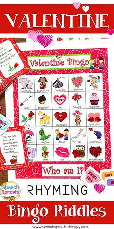 $ Valentine Riddle Bingo-Guess the rhyming riddles to play. This best-selling game is fun for 1-28 players. Easy prep, low color/ gray-scale version also included